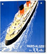 France Cruise Vintage Travel Poster Restored Acrylic Print