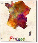 France In Watercolor Acrylic Print
