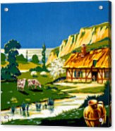 France Normandy Vintage Travel Poster Restored Acrylic Print