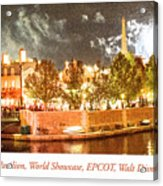 France Pavilion At Night With Fireworks, Epcot, Walt Disney Worl Acrylic Print