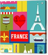 France Vertical Scene - Collage Acrylic Print