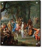 Franz Christoph Janneck Graz 1703-1761 Vienna A Dance In The Palace Gardens, Acrylic Print