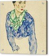 Frauenbildnis Mit Blauem Und Grunem Acrylic Print