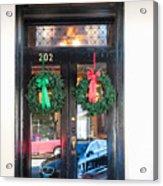 Fredricksburg Door Decorated For Christmas Acrylic Print