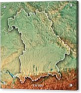 free state of bavaria germany 3d render topographic map border acrylic print