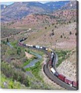 Freight Snaking Through Price Canyon Utah Acrylic Print