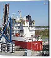 Freighter In Lock Of Saint Lawrence Acrylic Print