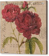 French Burlap Floral 3 Acrylic Print