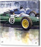 French Gp 1963 Start Lotus Vs Brm Acrylic Print