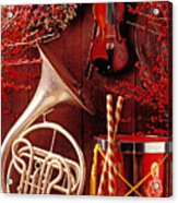 French Horn Christmas Still Life Acrylic Print