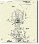 French Horn Musical Instrument 1914 Patent Acrylic Print