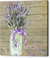 French Lavender Rustic Country Mason Jar Bouquet On Wooden Fence Acrylic Print