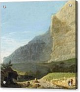 French Master 1st Half Of Th 19th Century   Rocky Cliff Off Shore Acrylic Print