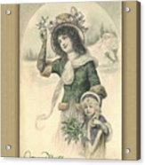 French Mother And Child Christmas Card Acrylic Print