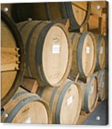 French Oak Barrels Of Wine At Midnight Acrylic Print