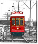 French Quarter French Market Cable Car New Orleans Color Splash Black And White With Film Grain Acrylic Print