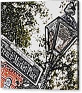 French Quarter French Market Street Sign New Orleans Colored Pencil Digital Art Acrylic Print