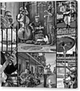 French Quarter Musicians Collage Bw Acrylic Print