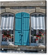 Shuttered Windows And Flowers Acrylic Print
