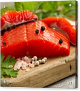 Fresh Copper River Salmon Fillets On Rustic Wooden Server With S Acrylic Print