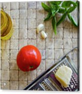 Fresh Italian Cooking Ingredients On Tile Acrylic Print