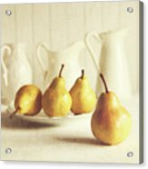 Fresh Pears On Old Wooden Table Acrylic Print