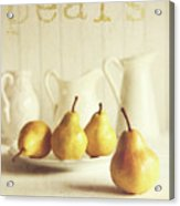 Fresh Pears On Old Wooden Table With Vintage Feeling Acrylic Print by Sandra Cunningham