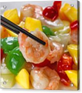 Fresh Shrimp And Peppers On White Serving Plate Ready To Eat Acrylic Print
