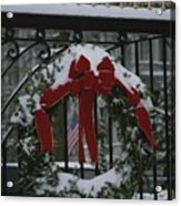 Fresh Snow Covers A Christmas Wreath Acrylic Print by Stephen St. John