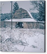 Fresh Snow Sits On The Ground Around An Old Barn Acrylic Print