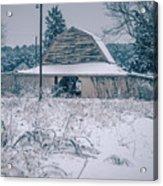 Fresh Snow Sits On The Ground Around An Old Barn Acrylic Print