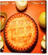 Freshly Baked Pie Surrounded By Apples On Table Acrylic Print