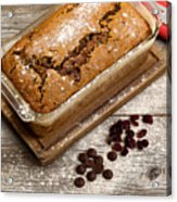 Freshly Baked Zucchini Bread On Rustic Wooden Boards Acrylic Print