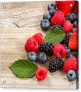 Freshly Picked Berries On Rustic Wooden Boards Acrylic Print