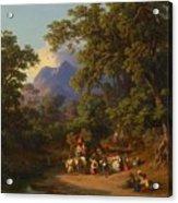 Frey  Johann Jakob 1813 Basel   1865 Frascati  Wedding Procession Of Italian Farmers Acrylic Print