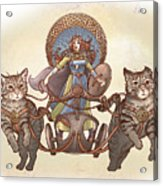 Freya And Her Cat Chariot-garbed Version Acrylic Print