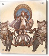Freya And Her Cat Chariot-nude Version Acrylic Print