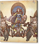 Freya Driving Her Cat Chariot - Triptic Garbed Version Acrylic Print