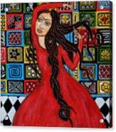 Frida Kahlo Flamenco Dancing  Acrylic Print by Rain Ririn