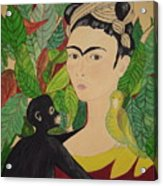 Frida With Monkey And Bird Acrylic Print
