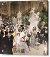 Friday At The Salon Acrylic Print by Jules Alexandre Grun
