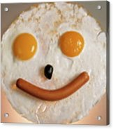 Fried Breakfast Of Eggs And Sausage Made Into A Smiling Face Acrylic Print