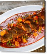 Fried Whole Fish In Sauce With Fruit And Vegetables In White Ser Acrylic Print