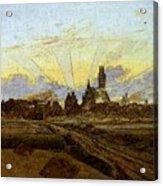 Friedrich Caspar David Neubrandenburg In Flames Acrylic Print