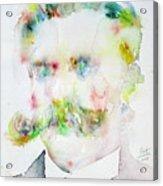 Friedrich Nietzsche - Watercolor Portrait.7 Acrylic Print