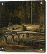Friedrich Voltz 1817 Nordlingen   Munich 1886 Forest Clearing At A Pond Acrylic Print