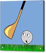 Frightened Golf Ball Acrylic Print