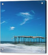 Frisco Fishing Pier In North Carolina Panorama Acrylic Print