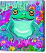 Frog And Spring Flowers Acrylic Print