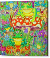 Frogs And Mushrooms Acrylic Print